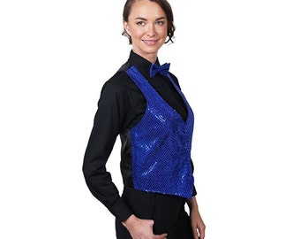 Women's Rotal Blue Sequin Vest