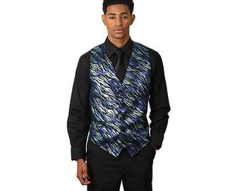 Men's Blue Glitter Vest