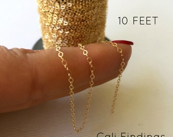 14K Gold Fill Chain - 10 FEET - Flat Cable Chain 1.3mm, Gold Cable Chain, Dainty Gold Chain, 10 Feet Gold Chain, Gold Fill Flat Cable Chain
