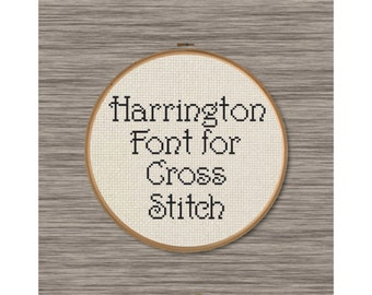 "PDF Cross Stitch Pattern: Full Alphabet of Uppercase and Lowercase Letters inspired by the font ""Harrington"""