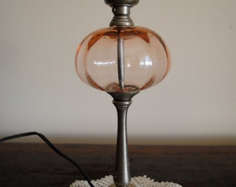 Vintage Pink Glass and Pewter Table Lamp