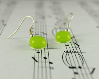 Lime Green Fused Glass Earrings - Drop Dangle Earrings - Neon Green  - 9mm Small Round Glass Cabochons