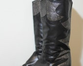 1980s Vintage Boots, Black heeled Boots, Metallic Leather snake skin, Black and Silver, New Wave, Rocker, Edgy, Goth, Made in Austria, Gabor