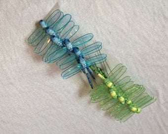 Dragonfly 12 Dragonflies Green And Blue 3.5 Inches Dragonfly Embellishments Artificial Dragonflies