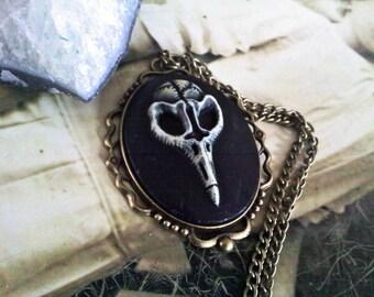 Bird Skull Cameo Necklace