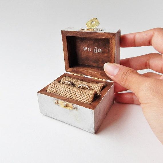Mini custom color rustic ring bearer treasure chest ring box for Custom made ring box