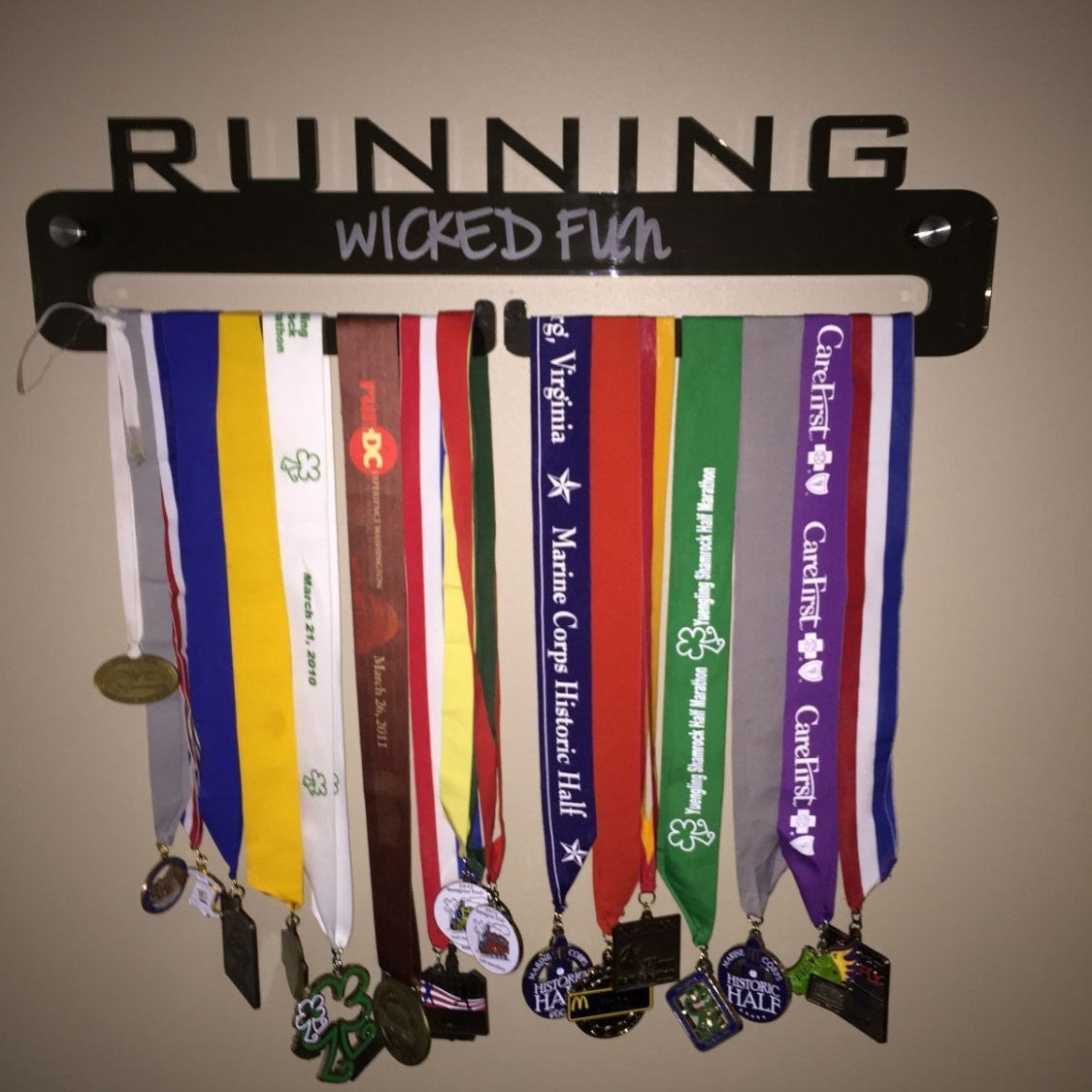 Running Medal Holder With Custom Engraving Grey Acrylic