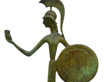 Athena with owl and shield Goddess of Wisdom and strategy sculpture statue