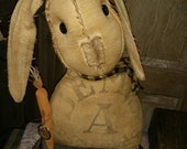 Primitive Feedsack Rabbit Bunny Easter Spring Hafair FAAP