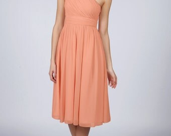 Peach One Shoulder Knee Length Bridesmaid/Prom Dress available in 37 colours by Matchimony