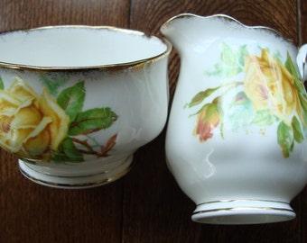 "Royal Albert ""Tea Rose"" - Bone China England - Vintage Cream and Sugar Set"