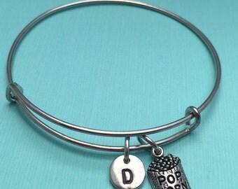 Popcorn bangle bracelet, popcorn charm bracelet, food charm bracelet, personalized bracelet, initial bracelet, popcorn jewelry