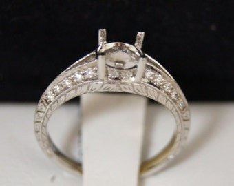 Antique Inspired Vintage Style 14 k white gold and diamond Engraved  Semi Mount Engagement Ring,Setting only, for 6.5MM round Stone