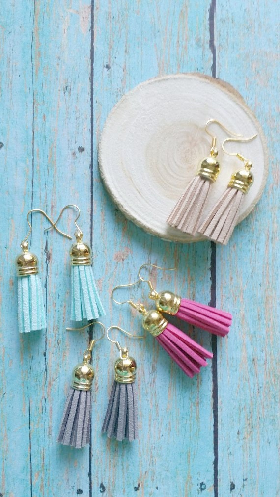 Tassel Drop Earrings / Neon Tassel Earrings / Suede Tassel Drops / Gold Cap Earrings /  Color Tassel Drops / Many Color Choices
