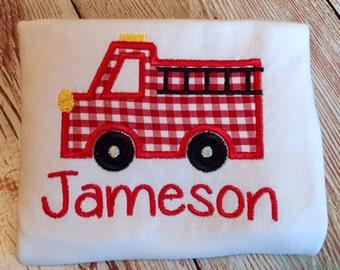 Personalized Firetruck shirt, Fire Truck Birthday shirt, Custom Firetruck shirt, Custom Firetruck onesie