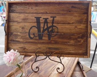 Monogrammed wooden serving tray, serving tray, reclaimed wood serving tray
