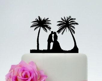 Beach Theme Cake Topper,Bride And Groom Silhouette Cake Topper,Wedding Cake Topper,Custom Cake Topper,Unique Cake Topper P111