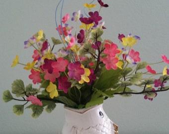 Bright & Cheery Arrangment in Decorative Fish, Summer Arrangement w/ Butterfly, Silk Floral Arrangment, Summer Floral Arrangment