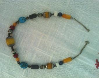Necklace silver and semi precious stones