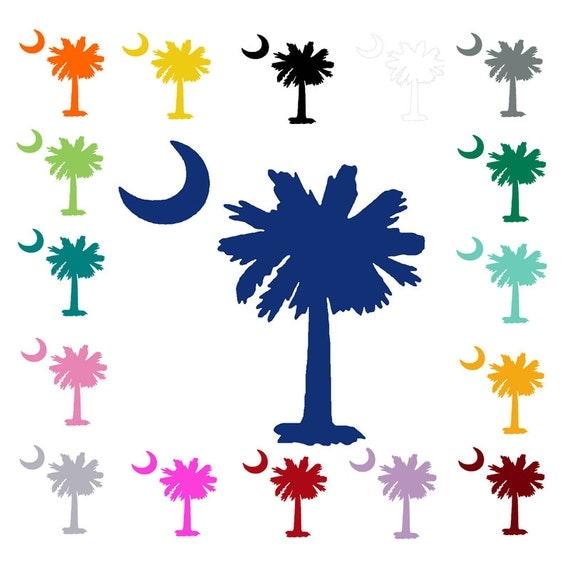 South Carolina Palmetto Tree And Moon Vinyl Decal Sc Sticker
