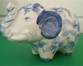 Vintage Elephant Piggy Bank Figurine Blue and White Chinese Porcelain Andea by Sadek Collectible Chinoiserie