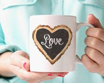 Coffee Mug Chalkboard Love Heart Coffee Cup