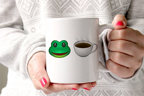 Coffee Mug Frog Drinking Tea Emoji That's None of My Business Funny Coffee Mug
