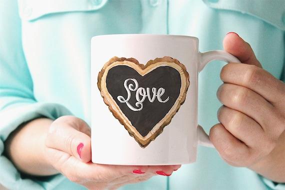 Coffee Mug Chalkboard Love Heart Coffee Cup
