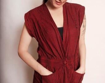 SALE REDUCED 20% Vintage Red & Black Flannel Houndstooth Vest Top