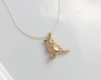 4 Gold 3D Bird Charm Pendants, 18K Gold Plated on Copper, 13x10mm, E-001