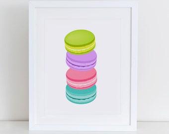 Macaron Art Print, Macaron Print, Kitchen Wall Decor, Sweet Print, Food Art Print, Macaron Printable, French Macaron Print