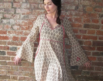Block Print Boho Kaftan Dress