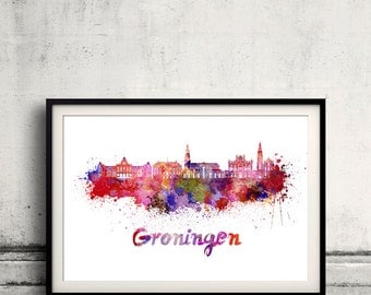 Groningen skyline in watercolor over white background with name of city 8x10 in. to 12x16 in. Poster art Illustration Print  - SKU 0561