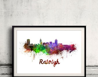 Raleigh skyline in watercolor over white background with name of city 8x10 in. to 12x16 in. Poster art Illustration Print  - SKU 0562