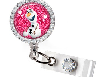 Pink, Retractable badge, ID badge holder, Decorated badge, Small gift,snowman