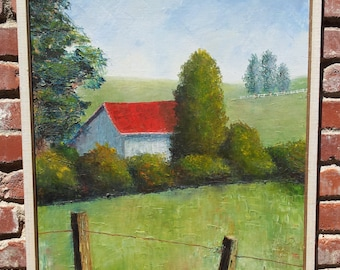Original Oil Painting Country Barn Landscape Realism