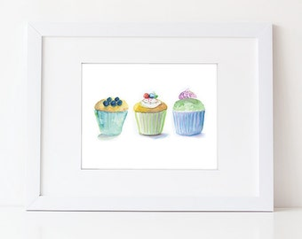 Cupcake Art - Watercolor Cupcakes - Food Art Print - Kitchen Art