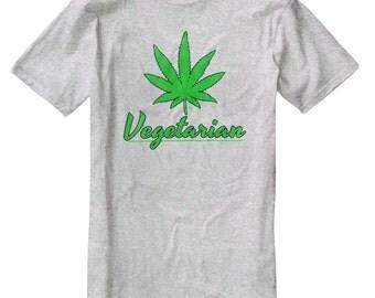 Vegetarian Pot Leaf Funny T-Shirt C004
