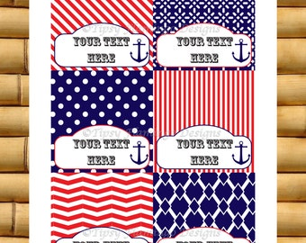 Party Food Tent Cards - Baby, Wedding Shower, Birthday, July 4th, Red White Blue, Nautical, DIY Customizable, Instant Download - TFD311