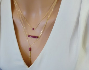 Genuine Ruby necklace, Layered necklace set, July birthstone Necklace, Tassel necklace, Ruby necklace Sterling Silver, 14k gold fill