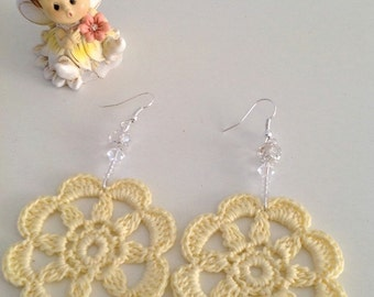 Crochet Earrings, Orecchini Uncinetto, 100% Cotton Thread Earrings, Handmade Jewelry