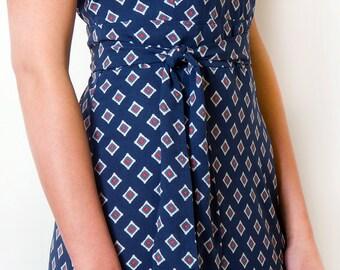 Blue Maxi Day Dress Long Printed Summer dress Geometric Belted Dress