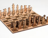 FREE SHIPPING! Wooden Chess Set, Flat Minimalist Chess, 2D Portable Chess Set, Travelling Chess Set, Unique Gift, Wooden Board game