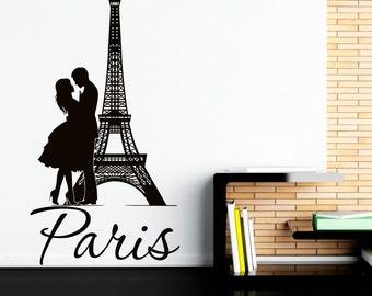 Eiffel Tower Wall Decal Paris Wall Decals Vinyl Stickers Paris Skyline Silhouette France Romantic Love Living Room Art Bedroom Decor C076