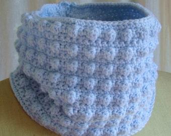 PDF Crochet Pattern Easy Popcorn Stitch Cowl Scarf