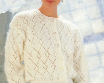 Lady's Lacy Cardigan Knitting Pattern in Chunky Yarn 32 - 40 inches