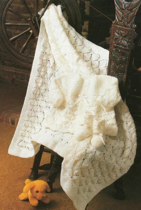 Baby Matinee Coat Knitting Patterns : Knitting pattern baby shawl matinee coat and bootees