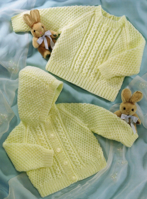 Knitting Pattern Baby Hooded Jacket : Babys Hooded Jacket and Sweater Knitting Pattern Birth to