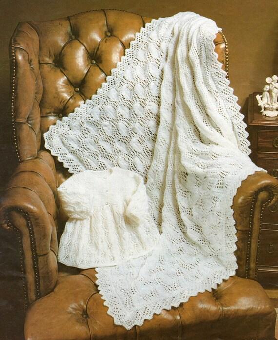 Knitting Pattern Baby Shawl 4 Ply : Baby Shawl and Coat Knitting Pattern uses 4 Ply yarn