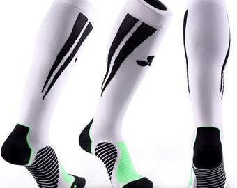 Samson® Whie Black Compression Socks Sport Athletic Running Athletic Walking Medical Made in UK